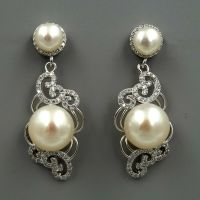 White Pearl Sterling Silver CZ Dangle Drop Earrings ...