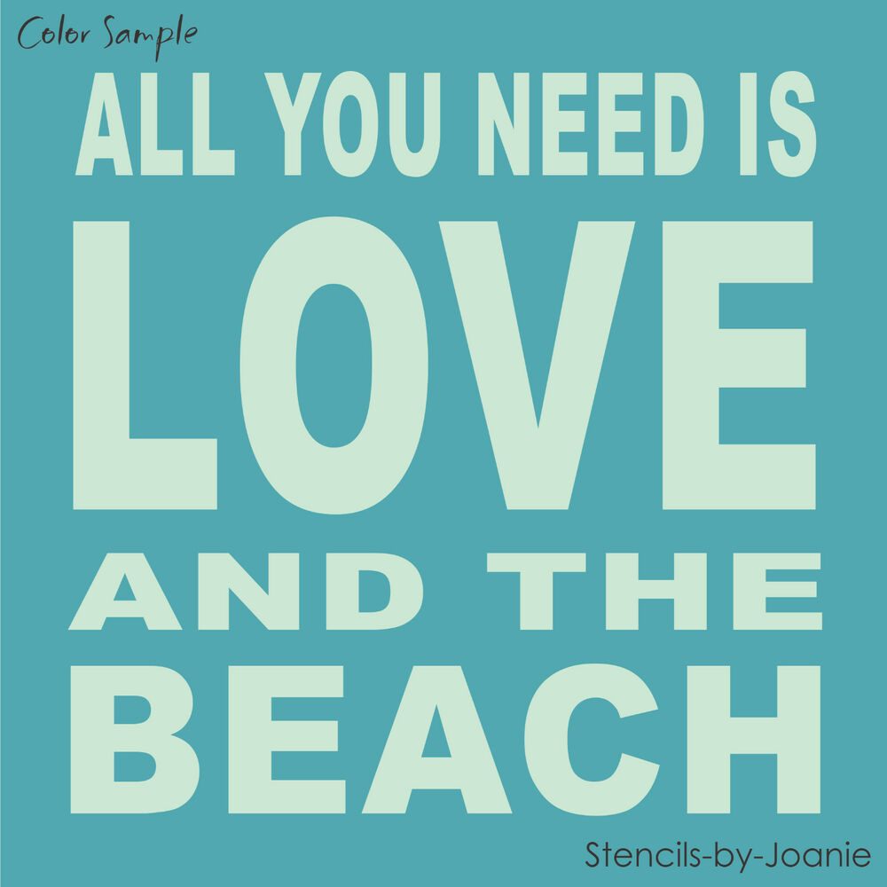 Download STENCIL All You Need Is LOVE BEACH Block Lettering ...