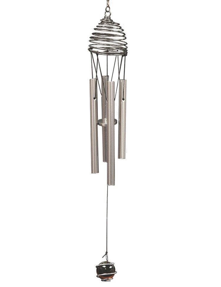 "12"" Silver Metal Wind Chimes Wind Spinner Accessory"