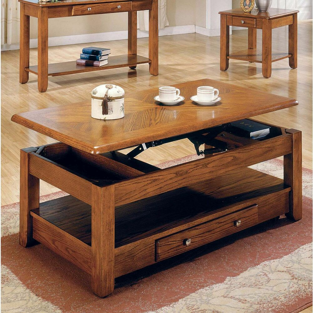 Logan Oak Lift Top Cocktail Table Furniture Living Room
