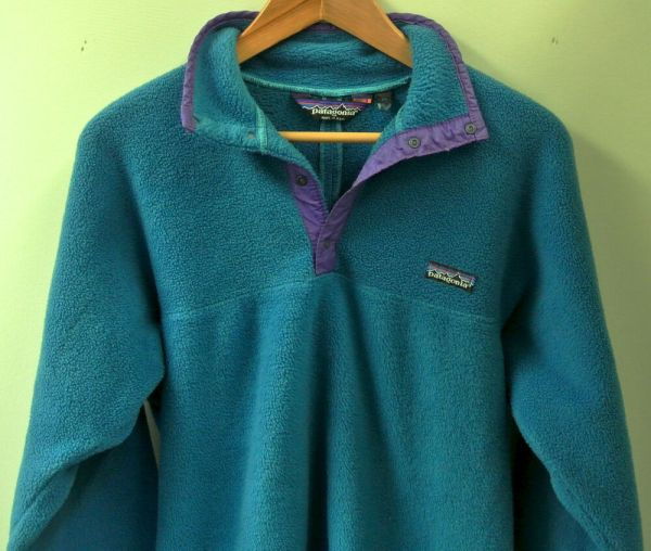 Vintage 1990s Patagonia Synchilla Men' Blue Green Snap-t