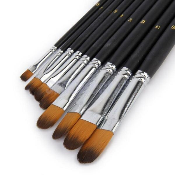 Professional 9pc Nylon Paint Brushes Set Watercolor Acrylic Oil Painting