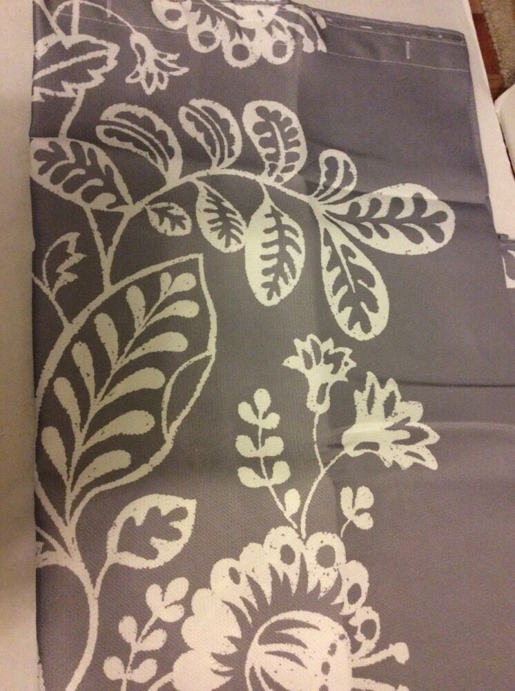 Gray Grey White Floral Leaves Bold Large Print Fabric Shower Curtain NEW EBay