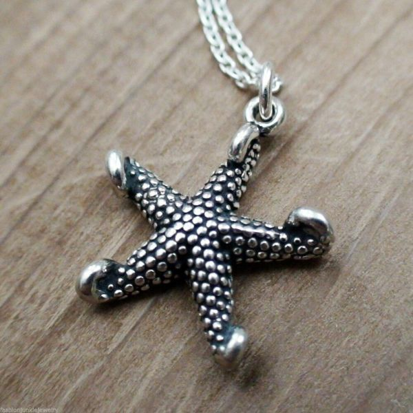 Starfish Charm Necklace - 925 Sterling Silver Beach
