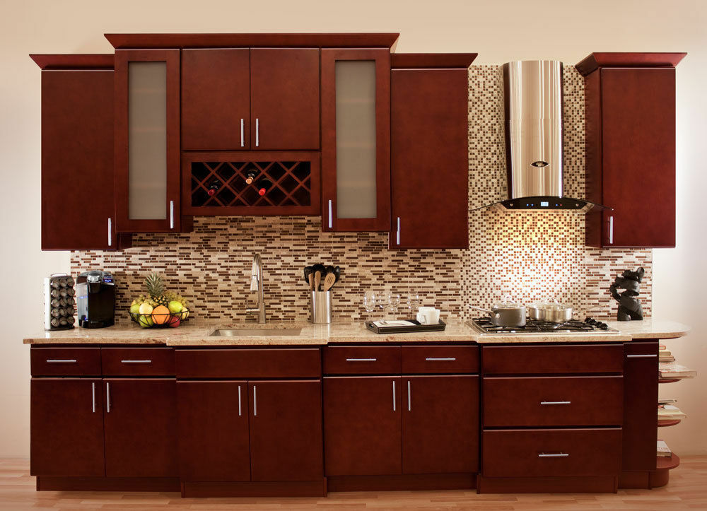 Villa Cherry Wood Kitchen Cabinets, Cherry Stained Maple