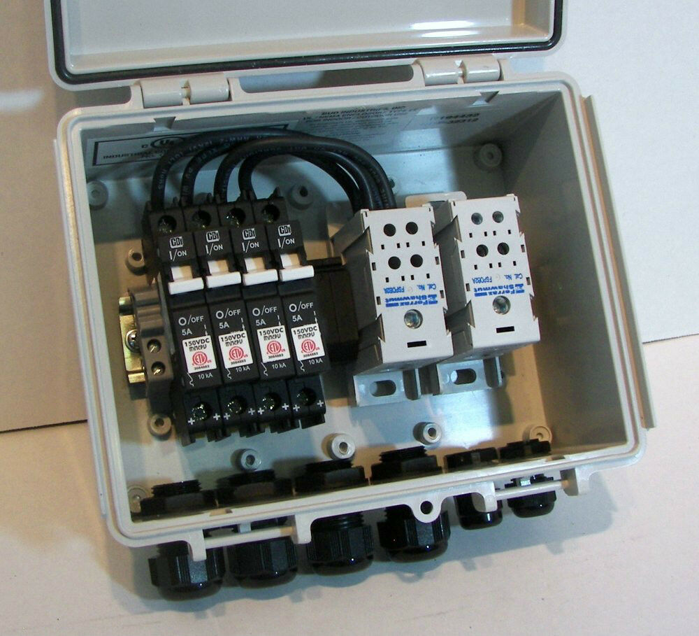 solar pv wiring diagram 2001 honda accord fuse box combiner with 20 amp circuit breakers - 3-string | ebay