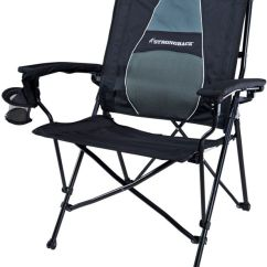 Folding Outdoor Camping Chairs Light Gray Chair Covers Strongback Elite Foldable With Padded Lumbar Support, Black And Grey | Ebay
