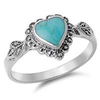 Women's Heart Turquoise Promise Ring New .925 Sterling