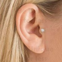 Flower Crystal Gem Tragus Helix Bar Cartilage Ear Earring