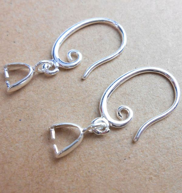 10pcs Jewelry Earring Findings 925 Silver Plated Pinch