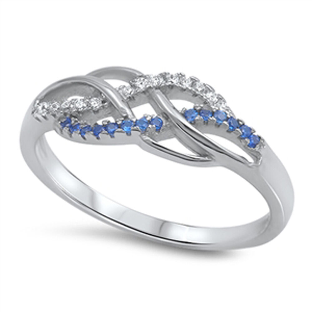 Infinity Knot Blue Sapphire CZ Promise Ring .925 Sterling