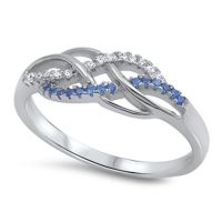 Infinity Knot Blue Sapphire CZ Promise Ring .925 Sterling ...