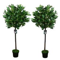 Pair of 2 4FT Artificial Bay Leaf Tree Indoor or Outdoor ...