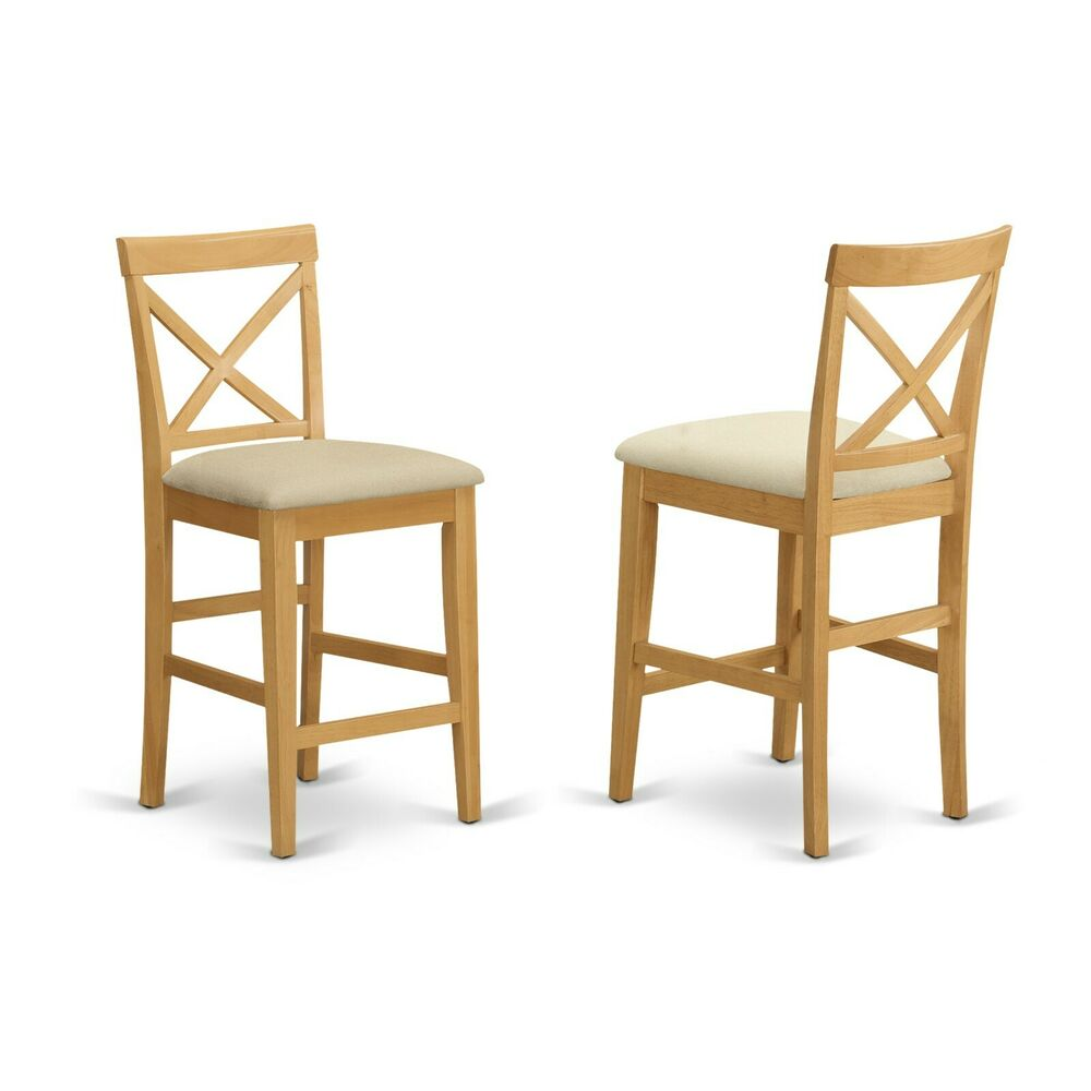 Set of 4 pub counter height bar stool chairs w microfiber