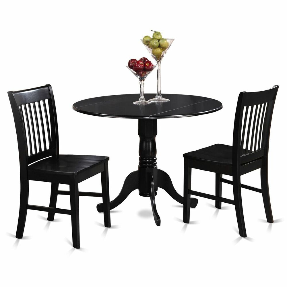 drop leaf kitchen table and chairs rubber floor protectors for chair legs 3pc dinette dublin pedestal 2 wood seat details about black