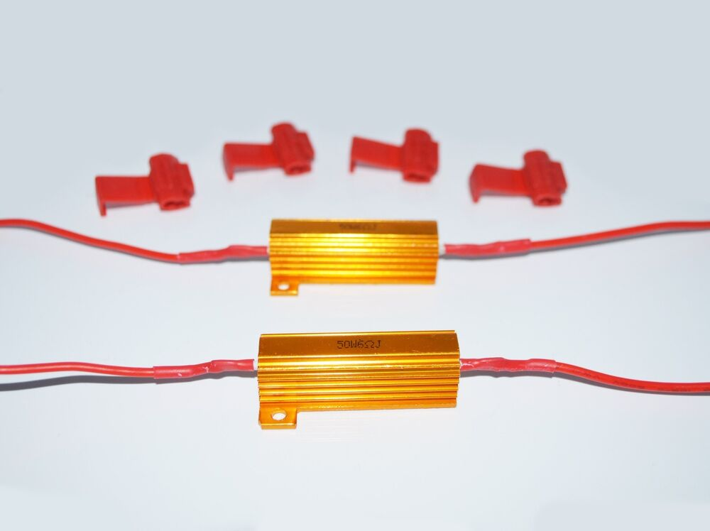 4x 50W 6ohm Load Resistors LED Turn Signal Fixing Hyperflash w// Quick Wire Clips