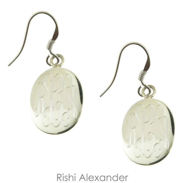 Sterling Silver Oval Monogram Personalized Earrings