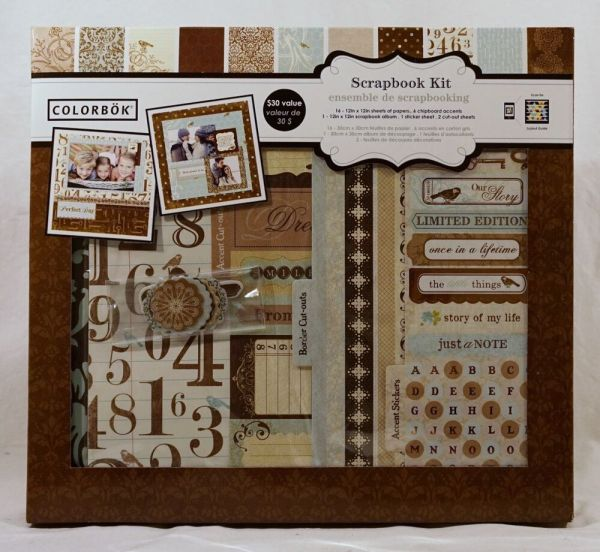 Colorbok Shabby Chic 12x12 Scrapbook Album Kit 16 Sheets 6 Chipboard Accents