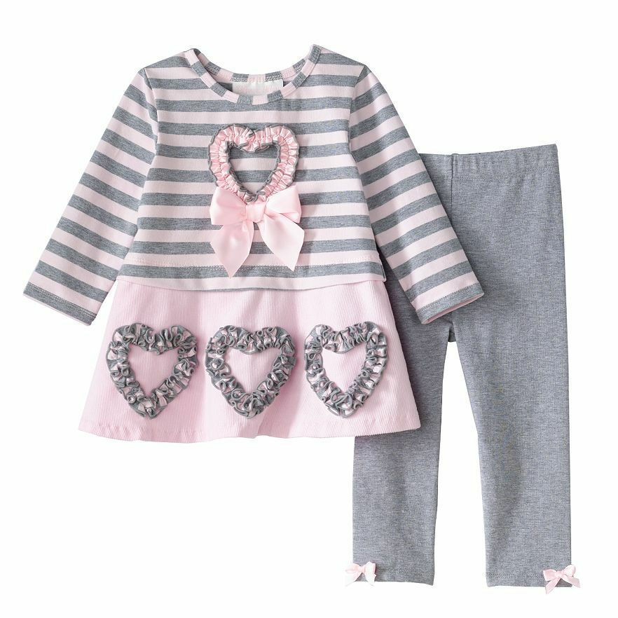 Bonnie Jean Girls Pink Heart Bow Dress Valentines Day