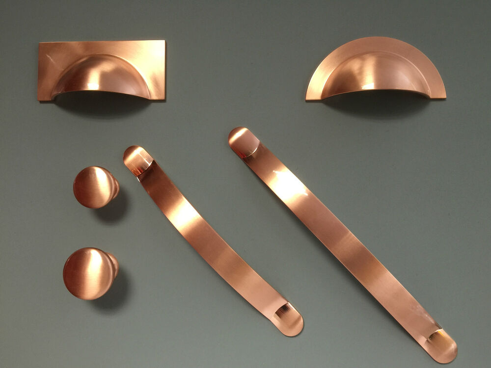 Brushed Copper Handles Cups Knobs Pulls Bows For Kitchen