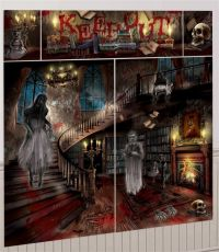 HALLOWEEN HORROR HAUNTED HOUSE MANSION SCENE SETTER POSTER