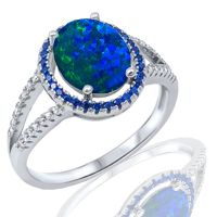 Fashion Halo Dark Blue Fire Opal Oval Cut w/ Blue Sapphire ...