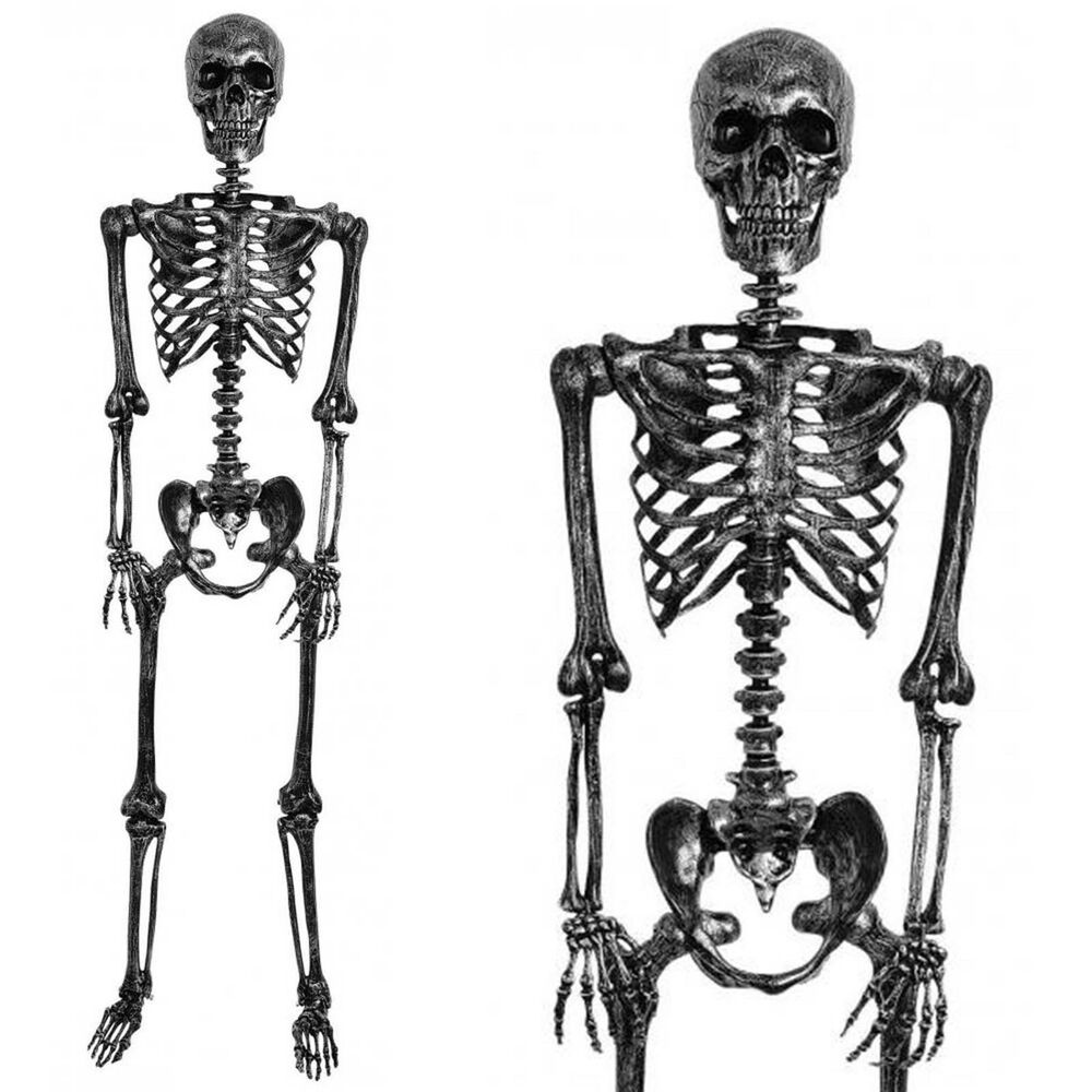 5ft Life Size Halloween Black Silver Metallic Human