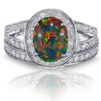 Black Fire Opal Halo Simulated Diamonds Engagement ...