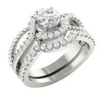 14K White Gold SI1/G 1.75TCW Real Diamond Unique Bridal ...