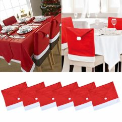 Santa Chair Covers Sets Dining Table 4 Chairs And Bench Red Hat Coverings Back Christmas Set Dinner Home Decor | Ebay