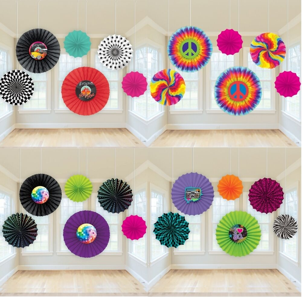 Decade Party PAPER FAN HANGING DECORATIONS (50s/60s/70s