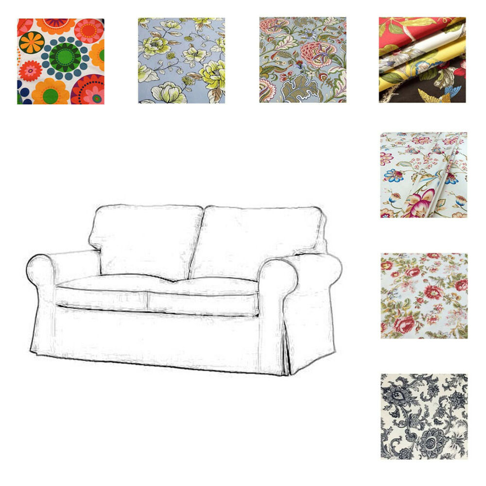 chair slipcovers ikea mayfair dining chairs custom made cover fits ektorp loveseat, two seat sofa cover, patterned | ebay