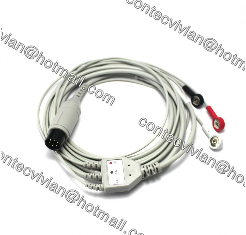CONTEC 6 Pin 3 lead ECG Cable with Leadwire, PVC,Gilded