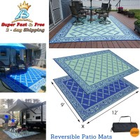 Camping Reversible Outdoor Mat RV Trailer Patio White ...
