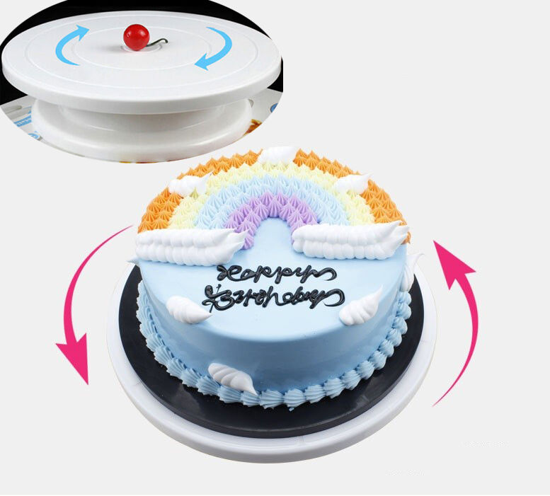 Plastic Cake Piping Turning Table Stands Decor Rotating Cake Stand Sugarcraft  eBay