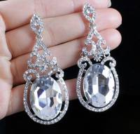 PARTY AUSTRIAN CRYSTAL RHINESTONE SILVER CHANDELIER DANGLE