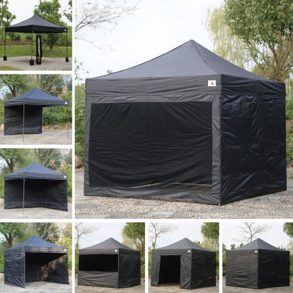 Abccanopy Delux Pop Canopy 10x10 Black Commercial Instant Tent With 6 Sidewalls