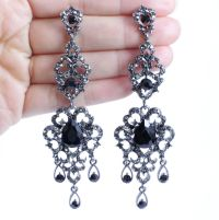 BLACK AUSTRIAN CRYSTAL RHINESTONE CHANDELIER DANGLE