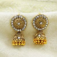 Indian Ethnic Bollywood CZ Gold Plated Jhumka Earrings Set ...