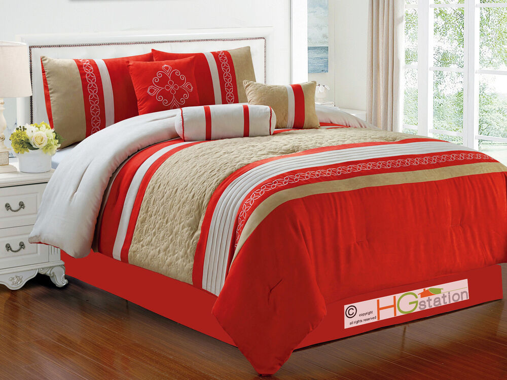 7Pc Quilted Damask Medallion Faux Suede Comforter Set Red