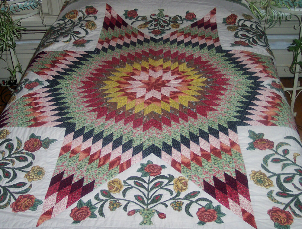 LOVELY NEW HANDMADE PIECED STAR  APPLIQUED URNS OF FLOWERS QUILTED QUILT 93X93  eBay