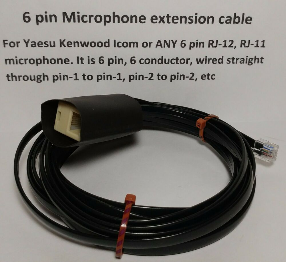 hight resolution of microphone extension cable 6 pin rj12 rj 12 modular yaesu ft8800 etc 12 feet ebay