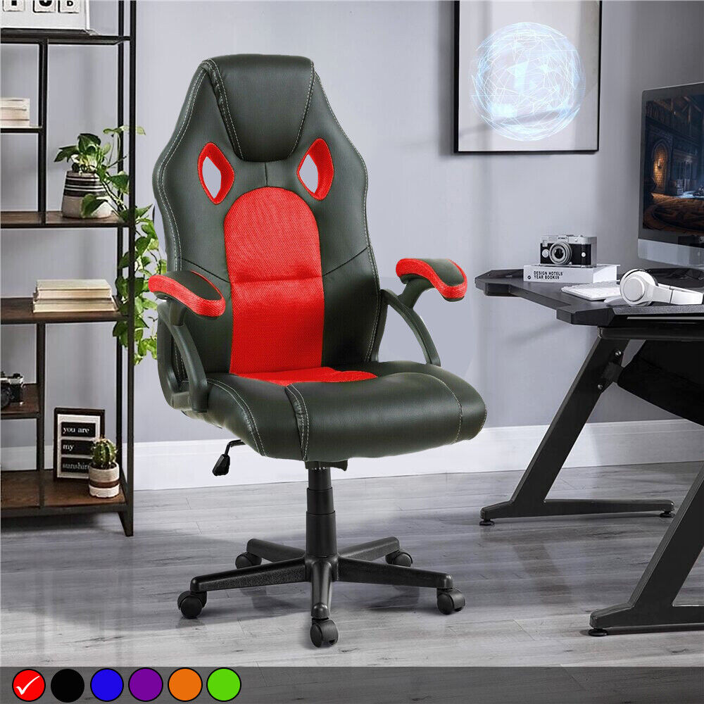 swivel reclining chairs uk steel chair shot pu leather mesh office racing gaming style computer desk | ebay