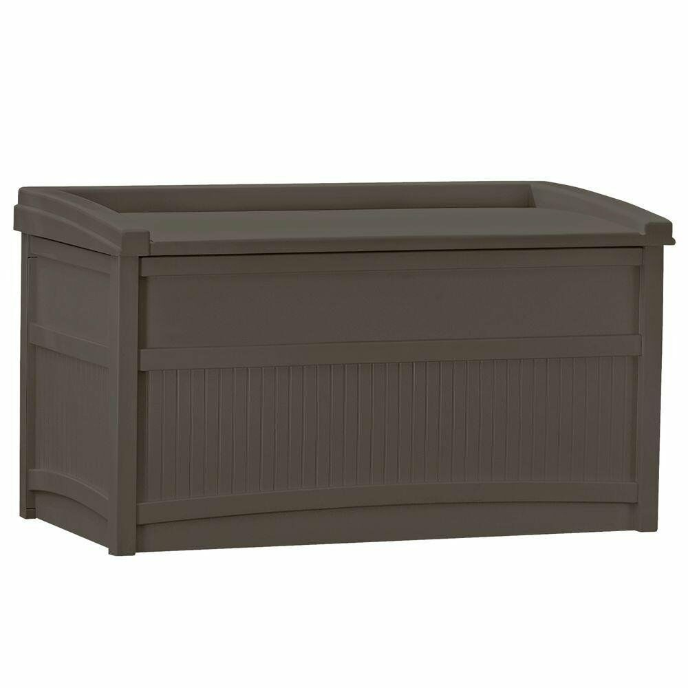 Suncast 50 Gal Resin Deck Box Outdoor Garden Patio