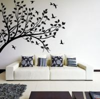 Wall Decal Tree silhouette Branch with Leafs & Birds ...