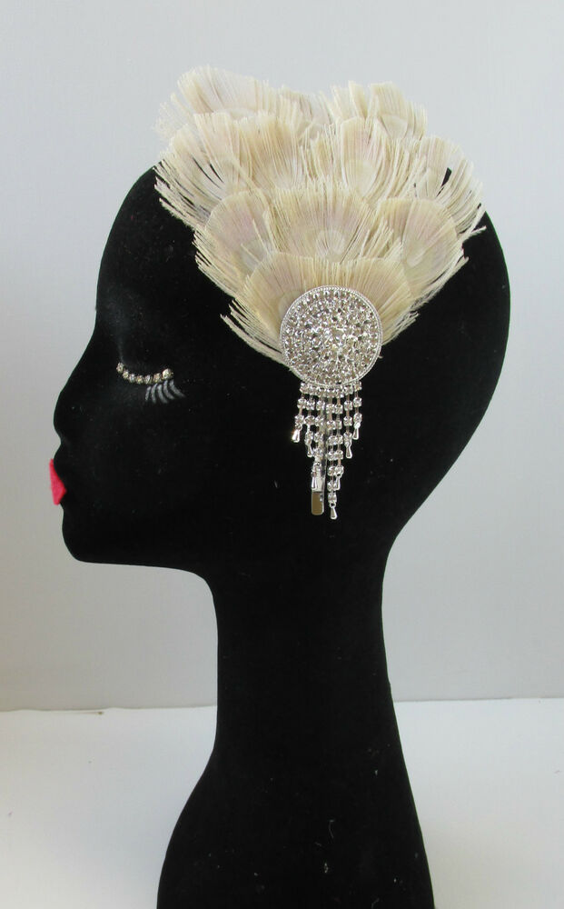Silver Amp Bleached Peacock Feather Fascinator Headband