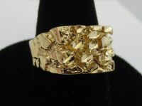 MENS 14 KT GOLD PLATED DESIGNER NUGGET STYLE RINGS, 3 ...
