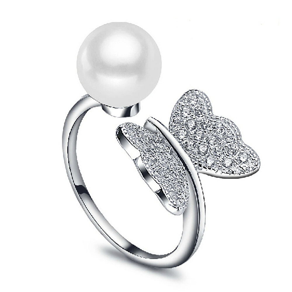 Real 925 Sterling Silver Freshwater Pearl Butterfly Adjustable Open Ring Jewelry  eBay