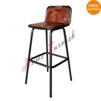 Vintage Style Industrial Bar Counter Stool Leather Seat ...