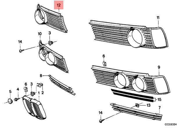 Genuine BMW E21 Saloon Headlight Front Lamp Grille O/S OEM